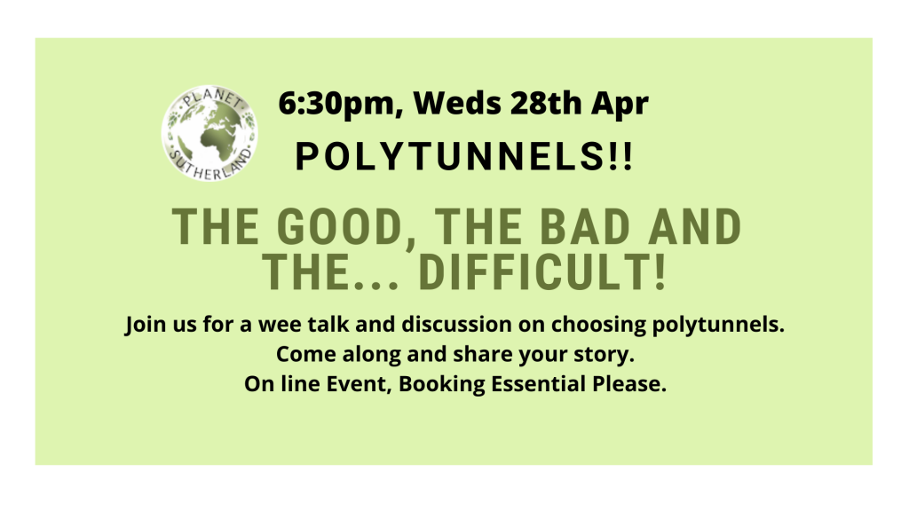 Polytunnels Discussion Event, 28th April.